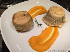 Tortino di pane carasau ripieno di verdure di stagione